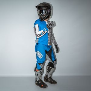 model showing front and side view of blue scribble motorsports kit