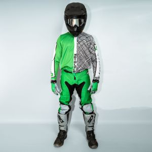 Model wearing green scribble motorsports kit showing front view of kit