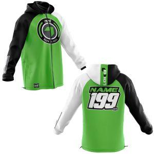 Front & back of green born 2 race motorsports customisable softshell jacket