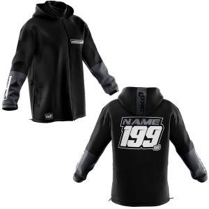 Black customised softshell jacket showing front and back