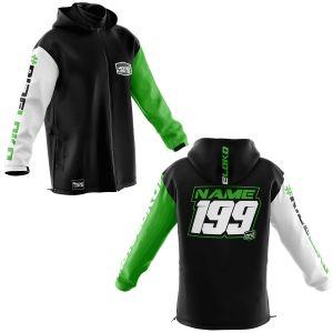 Front & back of premium green motorsports softshell jacket
