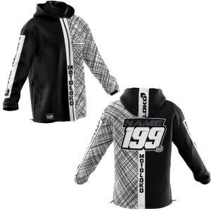 Front & back of black scribble motorsports softshell customisable jacket