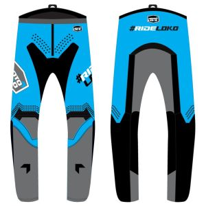 front & back view of blue engage motorsports pants