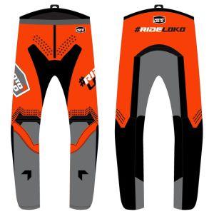front & back view of orange engage motorsports pants