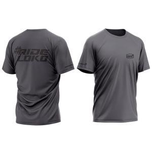 front & back of dark grey RideLoko motorsports t-shirt