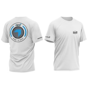 Blue Born to Race customised motorsports t-shirt showing front and back