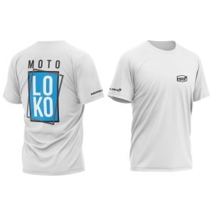 Blue Boxed customised motorsports t-shirt showing front and back