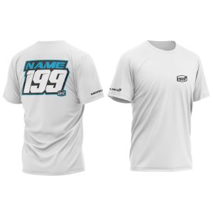 front & back of white customised motorsports t-shirt with blue print