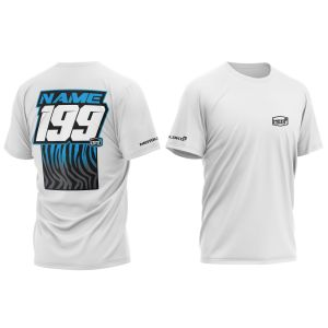 Blue Primal customised motorsports t-shirt showing front and back