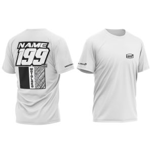 White Scribble customised motorsports t-shirt showing front and back