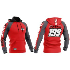 front & back of red brushed motorsports hoodie with example customisation