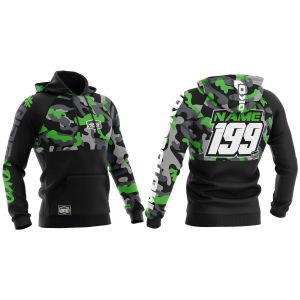 front & back of black and green camo motorsports hoodie