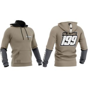 Front & back of sand fresh motorsport customisable hoodie