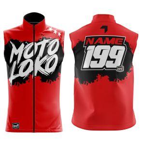 Front & back of red brushed motorsports softshell bodywarmer