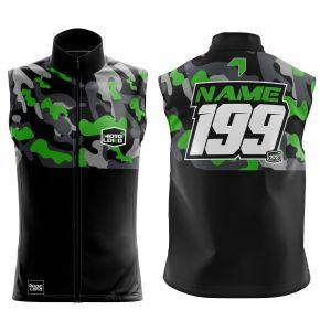 Front & back of green camo motorsports softshell bodywarmer