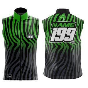 Front & back of primal black & green motorsports softshell bodywarmer