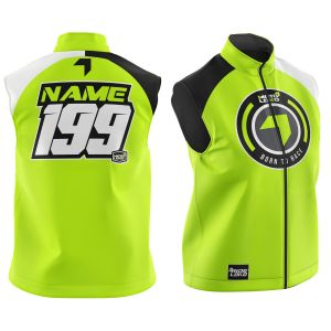 Front & back of yellow born 2 race motorsports softshell bodywarmer