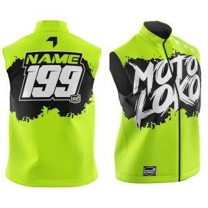 Front & back of customised yellow brushed motorsports softshell bodywarmer