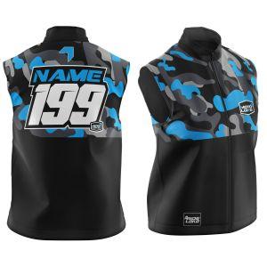 Front & back of customised blue camo motorsports softshell bodywarmer