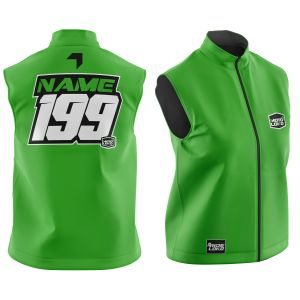 Front & back of green motorsports softshell bodywarmer with example customisation