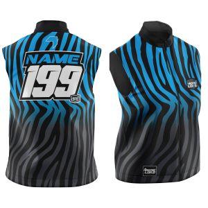 Front & back of customised primal black & blue motorsports softshell bodywarmer