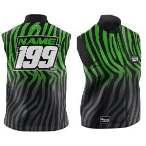 Front & back of customised primal black & green motorsports softshell bodywarmer