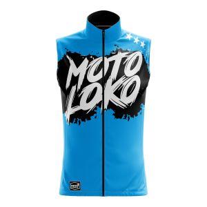 Front of blue brushed motorsports softshell bodywarmer
