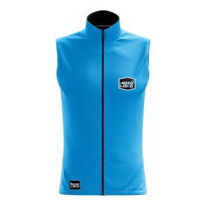 Front of blue customisable motorsport softshell bodywarmer