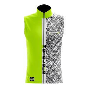 Front of yellow scribble motorsports softshell bodywarmer