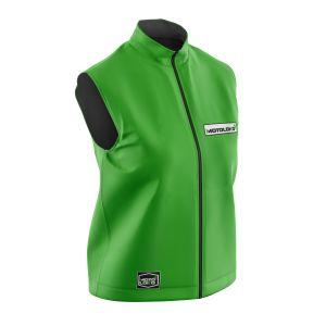 Front of green fresh motorsports softshell bodywarmer