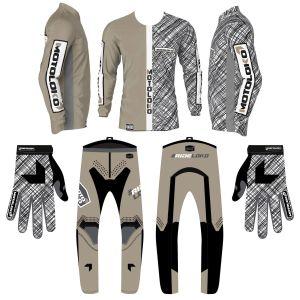 Sand scribble motorsports kit bundle showing jersey, pants and gloves