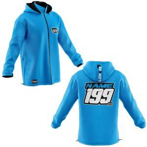 Front & back of blue coloured motorsports customisable softshell jacket
