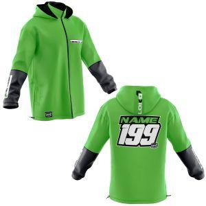 Front & back of green fresh motorsports customisable softshell jacket