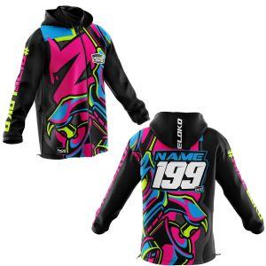 Front & back of graffiti customisable motorsports softshell jacket