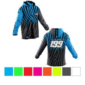 front & back of black & blue primal instinct motorsports softshell jacket showing colour options