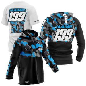 sublimated motorsports pit pack showing blue camo hoodie, t-shirt and softshell jacket