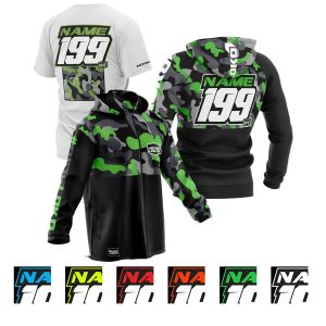 sublimated motorsports pit pack showing green camo hoodie, t-shirt and softshell jacket