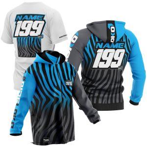Black and blue primal instinct motorsports pit pack including t-shirt, hoodie & softshell jacket