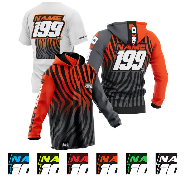 primal instinct black motorsports pit pack including t-shirt, hoodie & softshell jacket showing colour options