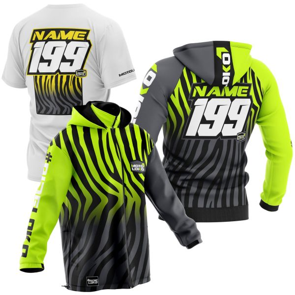 Black and yellow primal instinct motorsports pit pack including t-shirt, hoodie & softshell jacket