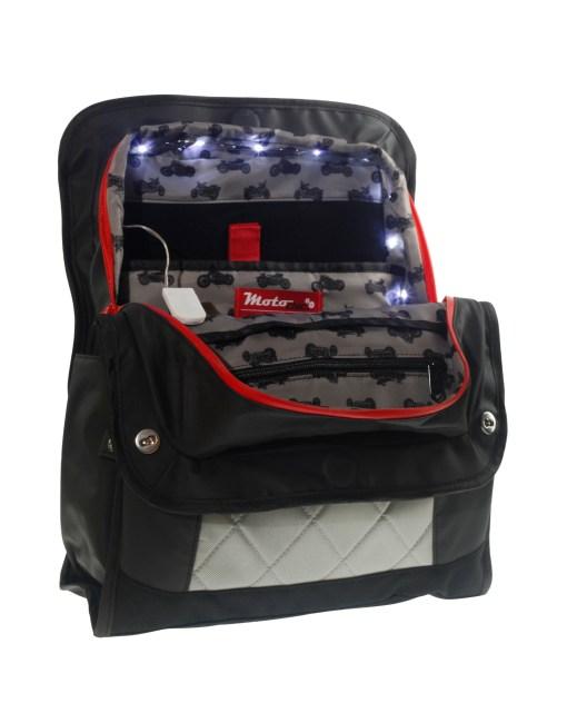 LED lights lauren sport red zippers vegan bag convertible backpack tote bag
