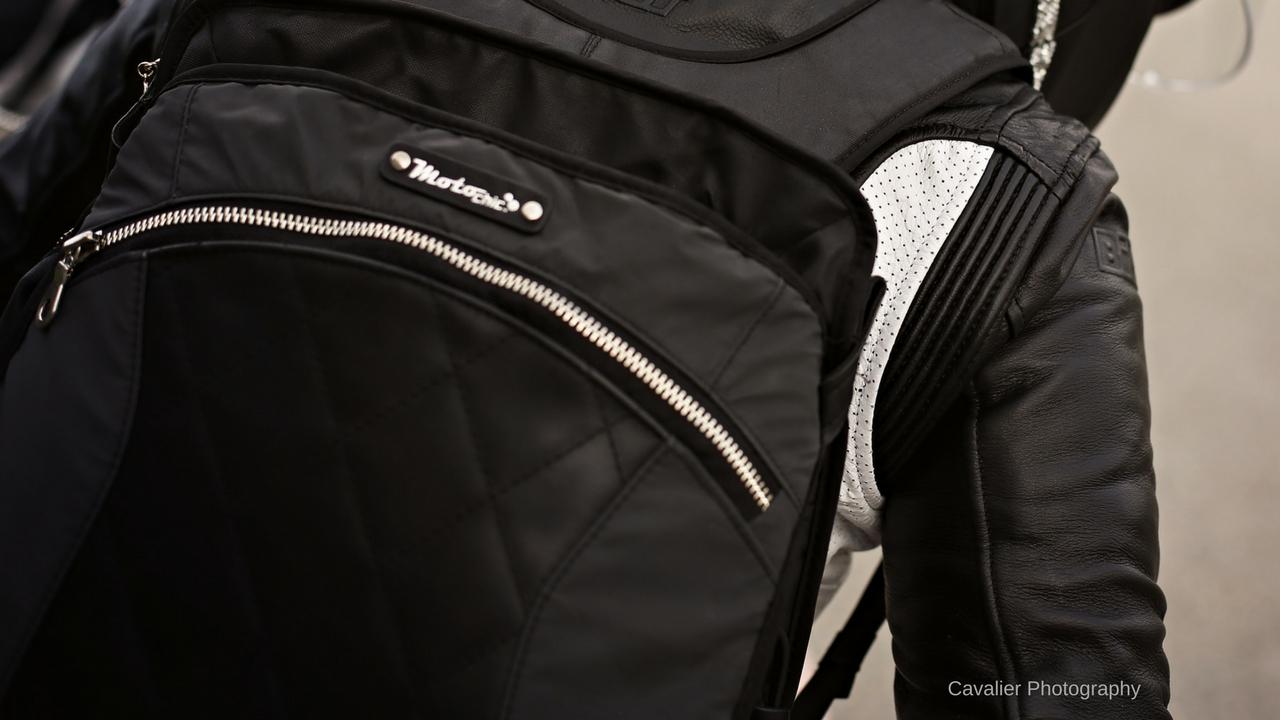 Lauren sport black leather backpack convertible tote bag motoryccle