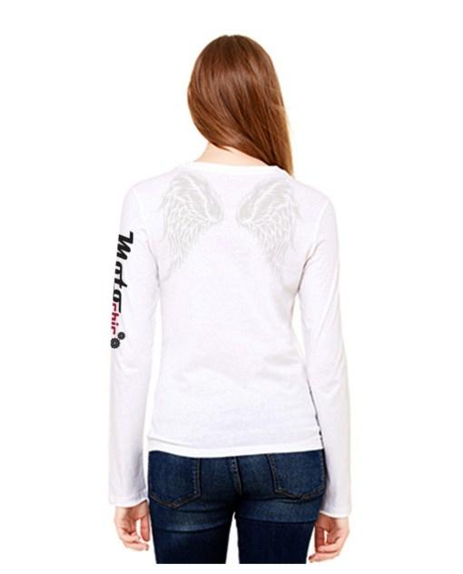 MotoAngels Ladies Long Sleeve Tee: White back