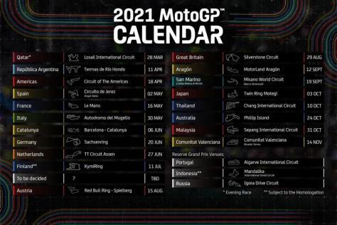 Diramato il calendario MotoGP 2021, 19 GP in programma - Motociclismo