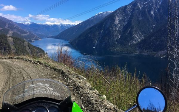 KLR650 over looking Anderson Lake, while riding the High Line