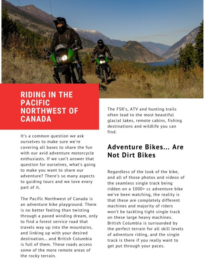 Motorcycle riding in the pacific northwest of Canada