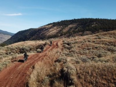 3 motorcycles riding dirt roads outside cache creek