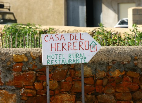 A home-made sign to the villages only hotel