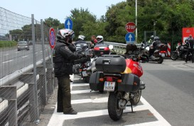 Loads of bikers were on the road