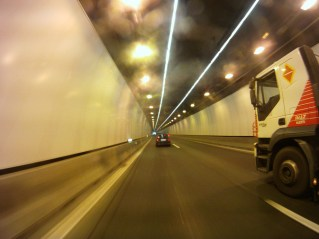 Big trucks - wet tunnels - not nice